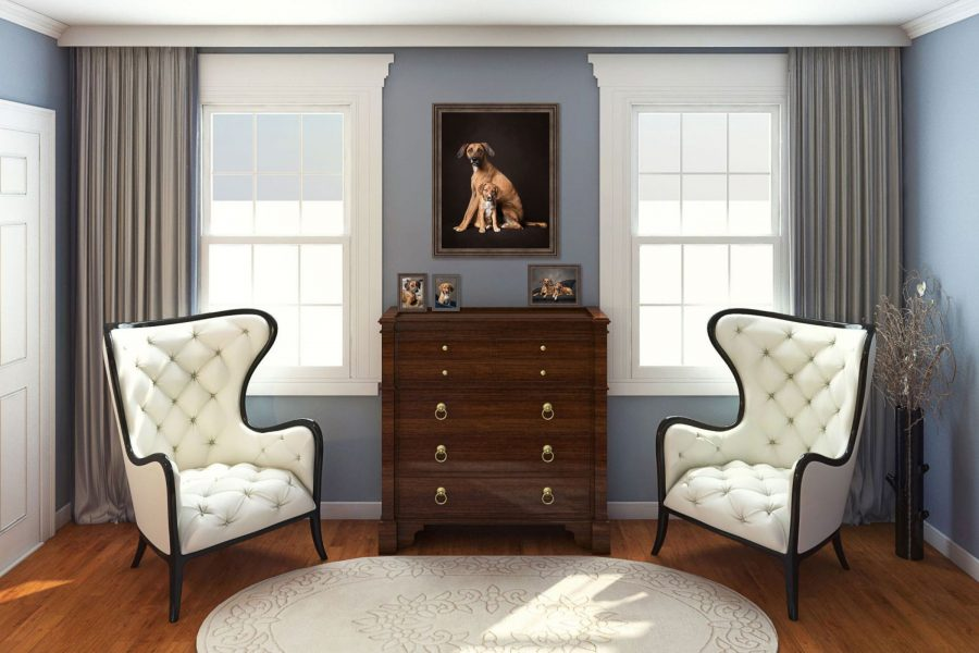 living room with dog portrait on the wall